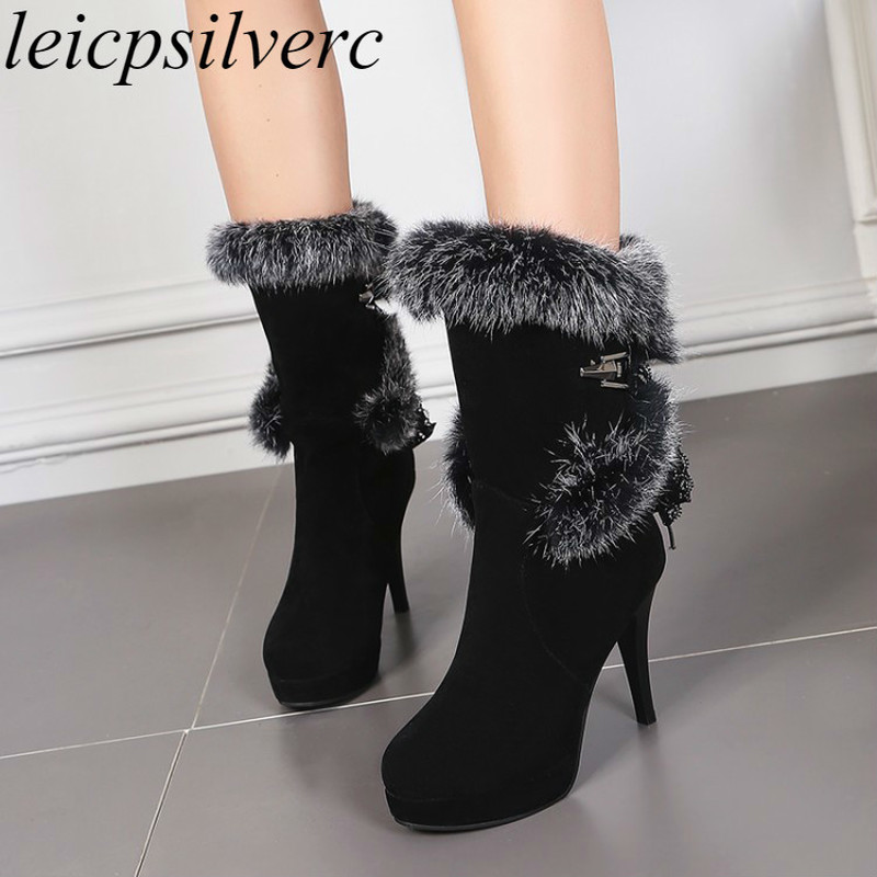 Women Boots Autumn Winter Fur Super High Heel Warm Round Toe New Fashion Flock Mid-calf Platform Basic Snow Boots Lace Up Black