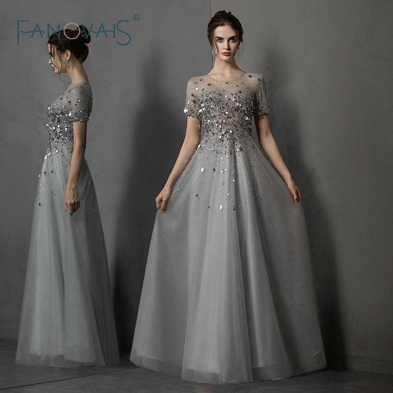 Gray Luxury   Evening     Dresses   Beads Crystal Short Sleeves   Evening   Gowns Elegant Formal   Dresses   Long Vestido de fieata 2019