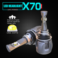1 Set H8 H9 H11 H16 60W 7800LM X70 LED Headlight Front Lens Lamps Bulbs XHP 70 4SMD Chips Turbo Fan White 6000K Fog 120W 15600lm