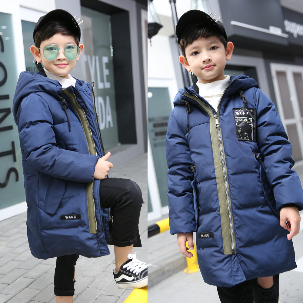 2017 New Boys Winter Thick Warm Duck Down Jackets Kids Hooded Casual Children Snow Outerwear Down Winter Solid Color Long Jacket duck down jacket for boys 2017 russia winter warm thick down parkas children casual fur hooded jackets coats 30 degrees