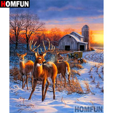 HOMFUN 5D DIY Diamond Painting Full Square/Round Drill Tractor deer Embroidery Cross Stitch gift Home Decor Gift A09214 homfun 5d diy diamond painting full square round drill tractor scenery embroidery cross stitch gift home decor gift a09181