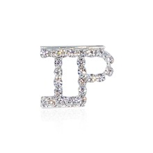 Shining Silver Rhinestone Brooch Pin IP Letter FREE SHIPPING