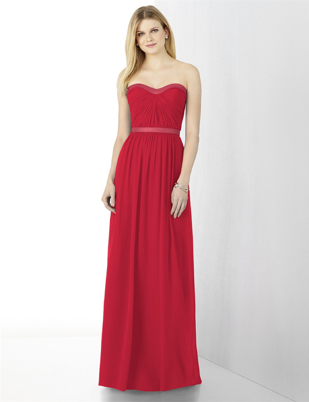 Red long empire plus size bridesmaid dresses 2015 cheap for Plus size wedding party dresses