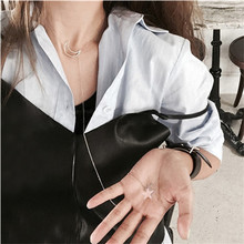 Silver Color Long Moon Star Tassel Necklace