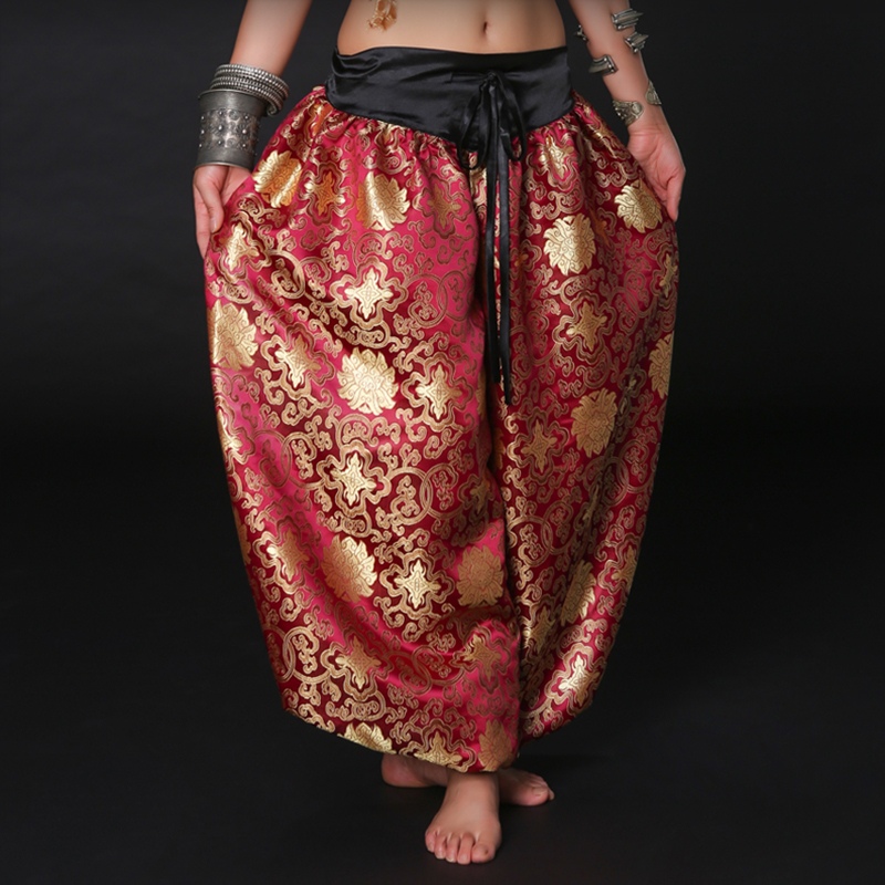 Unisexe Brocade Plein Pantalon Tribal Américain Danseuse Du Ventre Costume Accessoires Gypsy Danse Défaites ATS Harem Pantalon