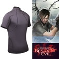 Resident Evil 4 Biohazard Leon Kennedy Cosplay T-shirt Grey Spandex Tights Shirt Tees Tops for Men's clothing