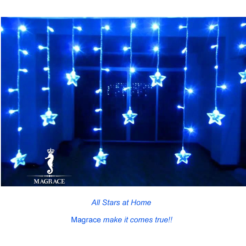 3.5M Star Modeling Led Curtain Light Star Led String Light for Christmas Xmas New Year Festival Party Indoor Decoration EU Plug