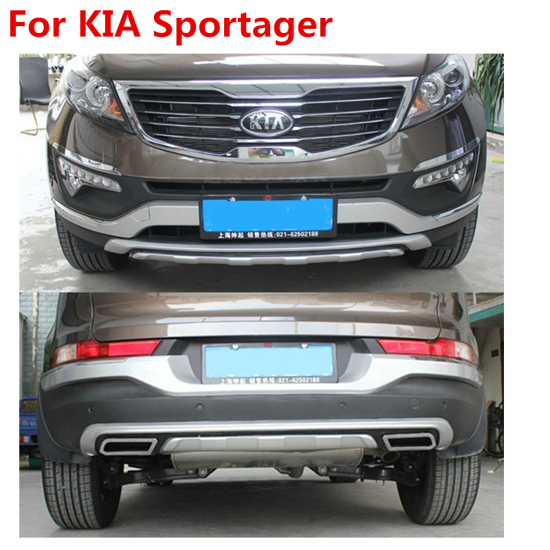 Good quality plastic ABS Chrome Front+Rear bumper cover trim For 2011-2015 Sportager ,car styling for 2011 2012 2013 2014 2015 kia sportage high quality plastic abs chrome front rear bumper cover trim car styling accessories