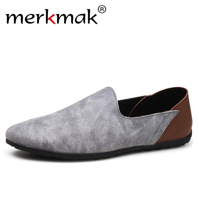 66efe2798589 Merkmak Comfortable Soft Suede Men Loafers Cow Genuine Leather Fashion  Brand Mens Flats Driving Shoes Plus Size 46 47 48