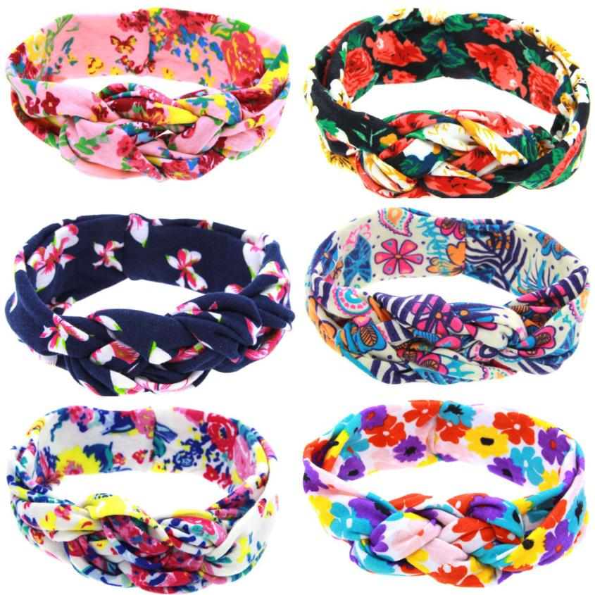 Vintage Kids Printing Intersect Elastic Cloth Children Soft Girl Kids Cross Hairband Tur ...