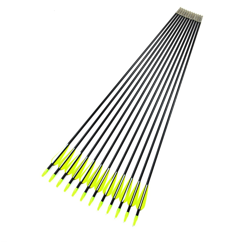 18pcs /25pcs 30 inch Hunting Fiberglass Arrow Steel Arrowhead 80CM FRP Fletched Hunter Archery Target Practice Recurve Compound ...