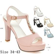 Summer Pumps Women Peep Toe High Heel Party Wedding Shoes Platform Gladiator Sandals Woman High Heels Plus Size 34-40.41.42.43