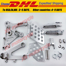 Free shipping motorcycle parts Silver Front Rider Foot Pegs Bracket fit For Honda CBR600RR 2003 2004 2005 2006