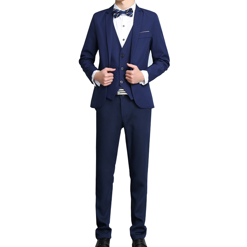 Costumes Homme Gilet Pantalon Blazer Pour Yw197 Pièces Blazers Boucle Manteau Unique Hommes marine Affaires Avec Bleu 3 bourgogne Ensembles Noir pnqrp1R