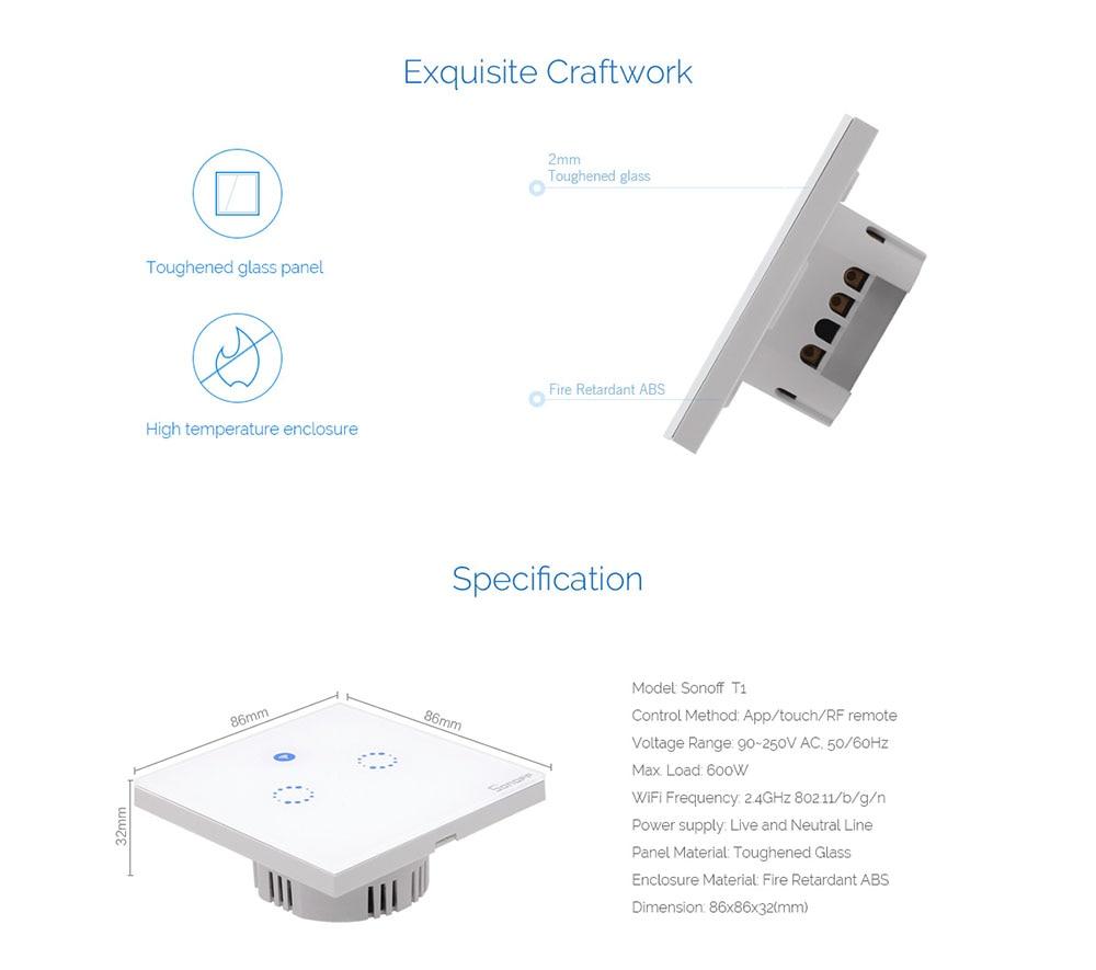 Sonoff T1 EU 1/2 Gang Smart Wifi Wand Touch Lichtschalter Touch ...