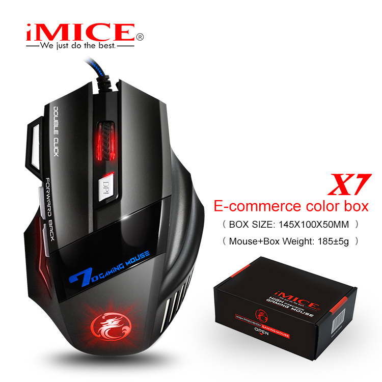 iMice Silent Wired Gaming Mouse Mute 2400DPI Mouse Gamer 7 Button USB Cable Optical Game Computer Mice for Laptop Video Game X7 wired 6 key usb 2 0 800 1000 1600 2400dpi optical gaming mouse