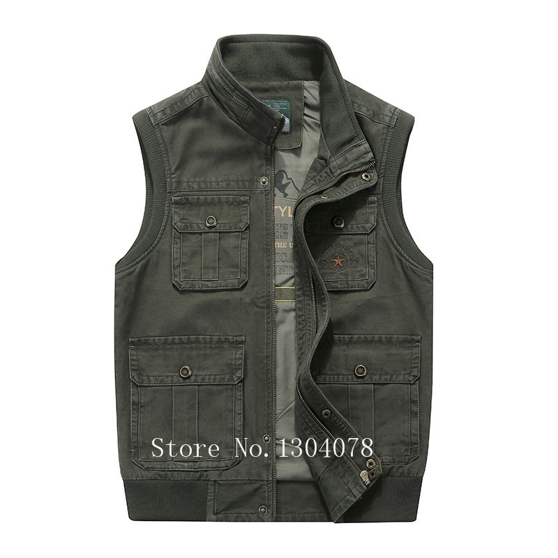 Brand AFS jeep Vest Men Outdoor Military Style Hunting Fishing Photography Vest Men Multi pockets Stand Collar Waistcoat Men