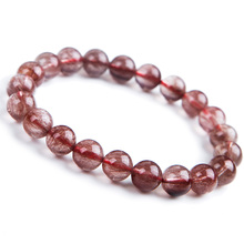 Genuine Natural Red Hair Rutilated Quartz Round Beads Crsytal Bracelet Women Men 9mm Clear Stone AAAAA Gift Jewelry