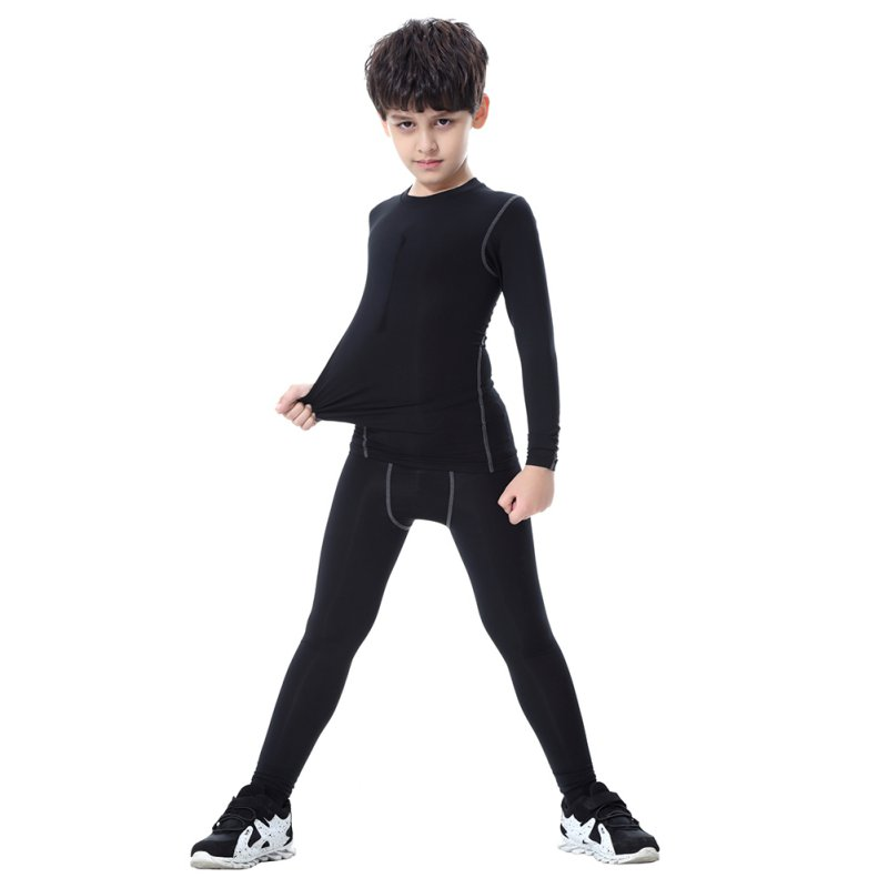 цена на Childrens Kids Boy Compression Base Layer Skins Tee Thermal Sports T- Shirt Quick-drying Clothes