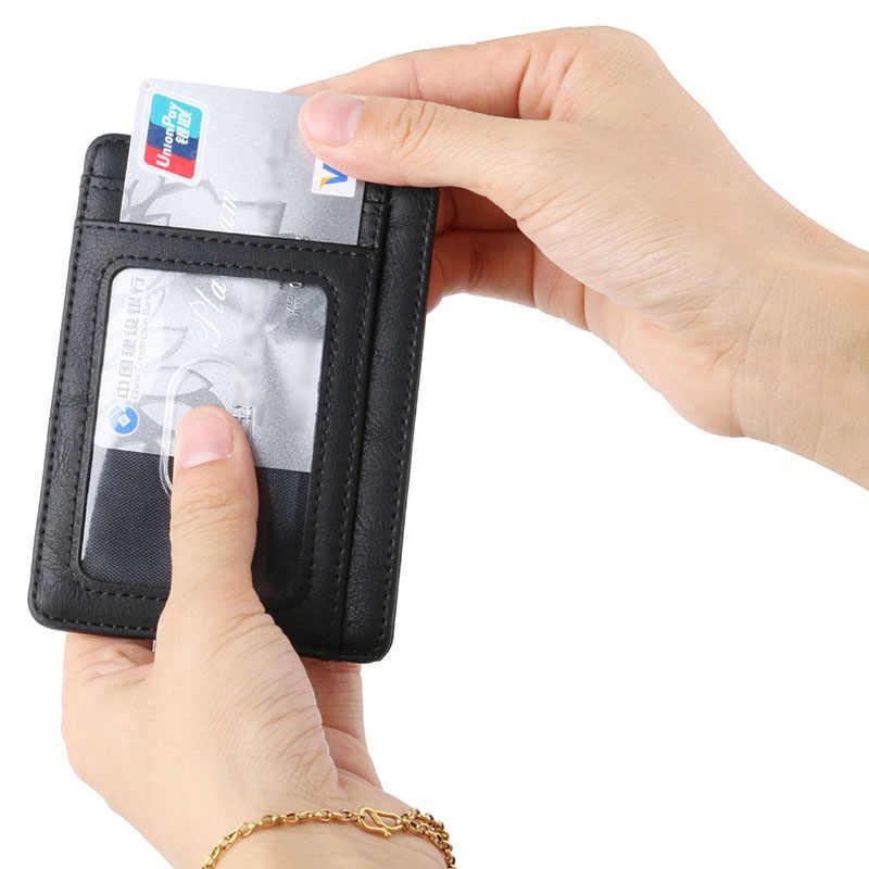 KUDIAN BEAR Rfid cartera pequeña de cuero para hombre, tarjetero de negocios para hombre, Mini cartera, cartera para mujer, Porta Tarjetas BID251 PM49