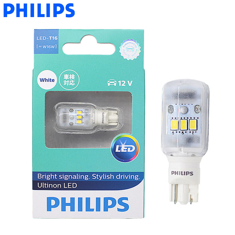 Philips Lamp Stop-Light Indicators LED Turn-Signal T15 W16w White 921 Blue 6000K T16