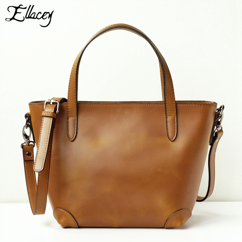 European and American Style Vintage Genuine Leather Bag for Women Large Capacity Crossbody Shoulder Bag Real Leather Handbags hansomfy womens handbags solid patent leather shoulder bag european and american style versatile female vintage bucket brand bag