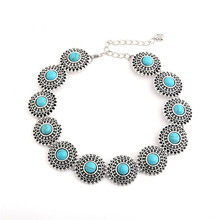 Tibetan Silver plated Boho Choker Necklace Bohemia Sunflower Style Turquoise Bead Neck Collar Ethnic Jewelry For Women Collier
