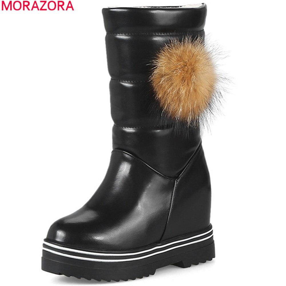 MORAZORA  fashion women boots round toe zipper ladies winter snow boots platform height increasing keep warm mid calf bootsMORAZORA  fashion women boots round toe zipper ladies winter snow boots platform height increasing keep warm mid calf boots