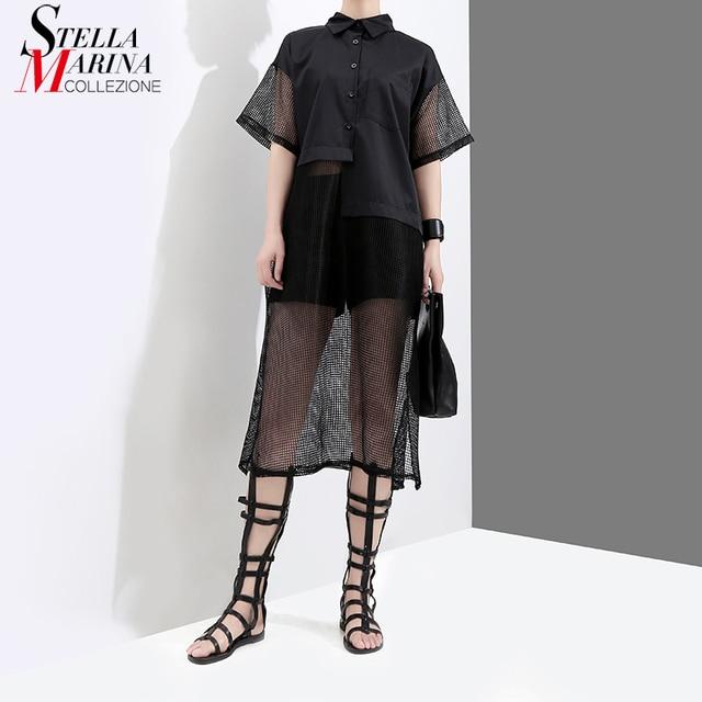 New 2018 Korean Style Summer Clothing Women Black Organza Shirt Dress Short Sleeve Transparent Girls Unique Wear Midi Dress 3629