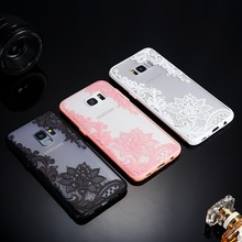Cute Pink Flower Clear Case for Samsung Galaxy S10 S6 s7 edge S10e S9 S8 Plus A6 A8 2018 A3 A5 A7 2017 TPU+PC Back Shell Cover(China)