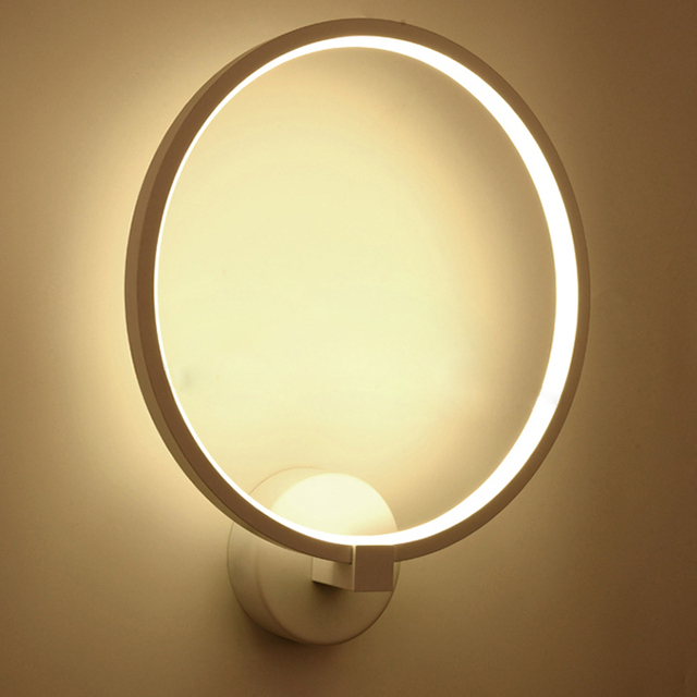 Modern Led Wall Lamp For Bedroom Aluminum Ring Circle Simple Light Round Sconce Acrylic Bedside Mounted