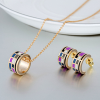 Cheap Fashion Jewelry Sets 2 Piece Women Enamel Necklace Esmaltes Earrings For Women Parure Bijoux Femme