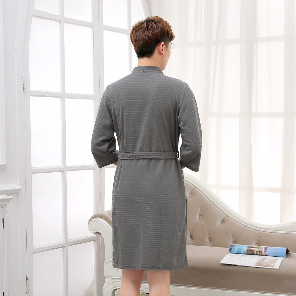 Hot Selling Men Summer Suck Water Waffle Bathrobe Male Plus Size Kimono  Bath Robe Sexy Robes Mens Dressing Gown Bathrobes-in Robes from Underwear  ... 4345bc290