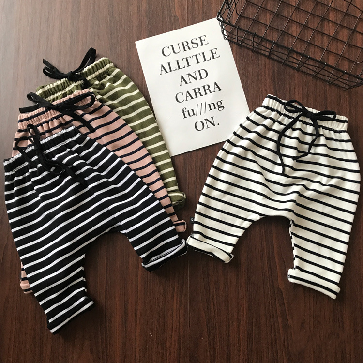 0 3 years Baby Harem Pants Pants Autumn Winter cotton striped Newborn Thicken Trousers Soft Pants Sweat infant Harem Pants in Pants from Mother Kids