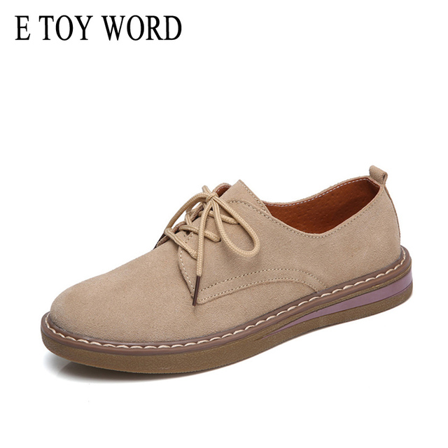 E TOY WORD Luxury ladies Designer shoes woman Spring Autumn Oxford shoe Solid Genuine Leather Women Shoes Round Toe Flat Shoes