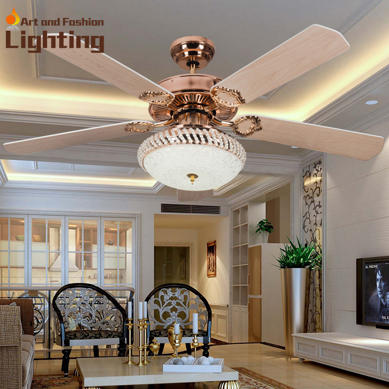 Ceiling Fans With Lights For Living Room: 52 Inches Large Ceiling Fans With Lights Wooden Fan Blades