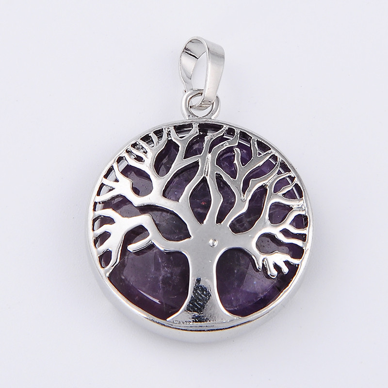 New Fashion Handmade Tree Of Life Pendant For Women Necklaces Natural Stone White Purple Crystal Pink Quartz Reiki Charm Jewelry