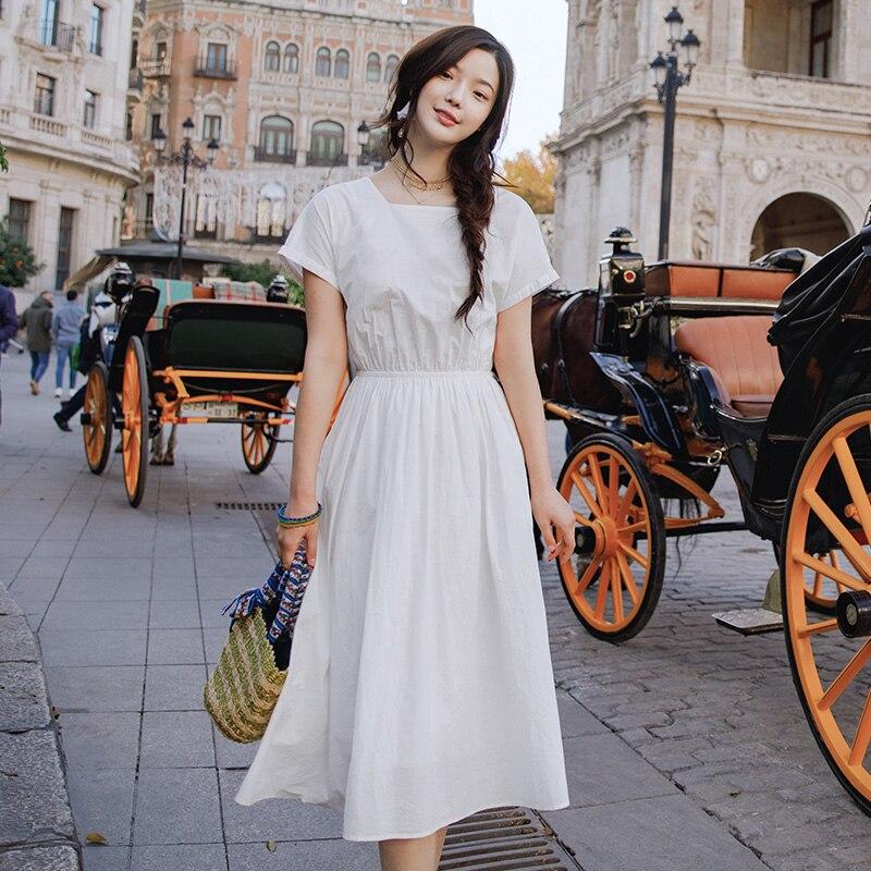 INMAN 2019 D'été de Femmes Retour boîtes nœud papillon Coton Afficher Slim robe pour femmes robe d'été