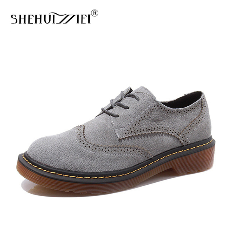Shehuimei Brogue Oxford Shoes Women Flats Women Genuine Leather Shoes sapatos femininos sapatilhas zapatos mujer Plus Size 43