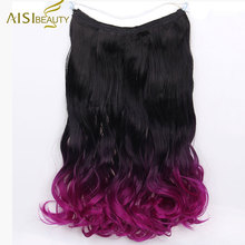 AISI BEAUTY Long Synthetic Wavy Hair Extensions Fish Line With no Clips Heat Resistant Hairpiece Secret Invisible Hairpieces(China)