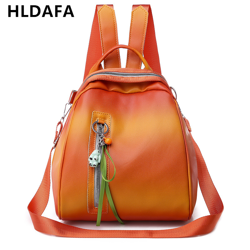 HLDAFA 2019 Hight Quality New Fashion Casual Pu Women Backpack Orange Backpacks Female Small Capacity School Shoulder Bag