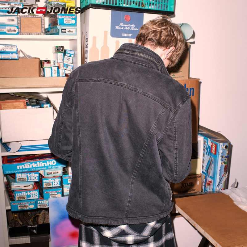 JackJones 男性のフリースのようなデニムジャケットファッションジーンズジャケットスリムフィットカジュアルストリートヴィンテージ男性 JeanE   218357506
