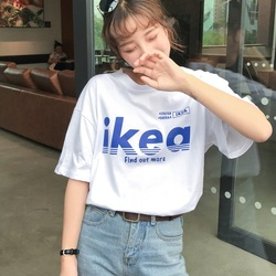 Summer korean casual loose purple Tshirt Women Letter T-shirts Printing Funny Tee Shirt For Female Top Clothes Short Sleeve Tees 4