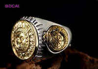 Genuine authentic S925 sterling silver ring Thai silver male and female, sun god wide adjustable ring