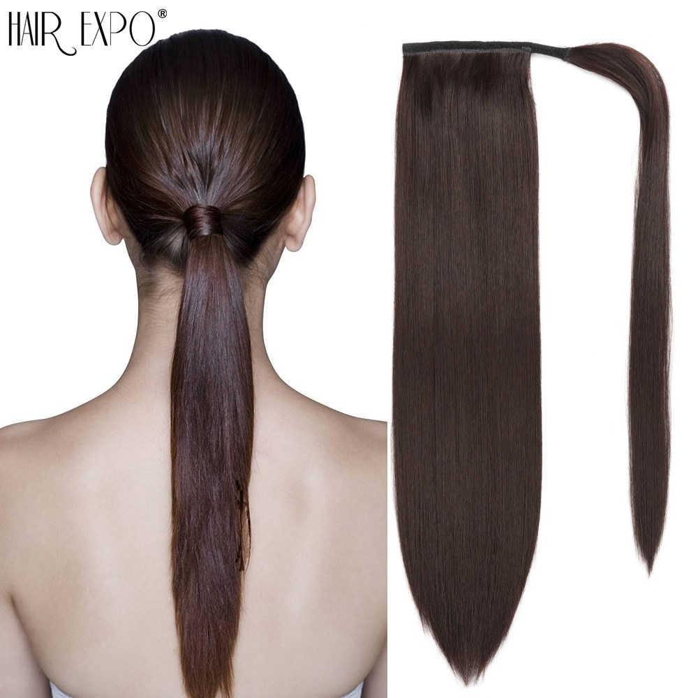 Волосы Экспо город обернуть вокруг хвоста ложный хвост синтетические длинные прямые волосы клип в наращивание волос для афро женщин