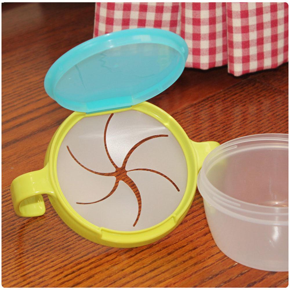 Снэк Хранитель чашка для закусок бисквит чаша посуда с крышкой ABS двойная ручка держатель для хранения тарелки карамельной расцветки безопасный продукт ребенка - Цвет: green