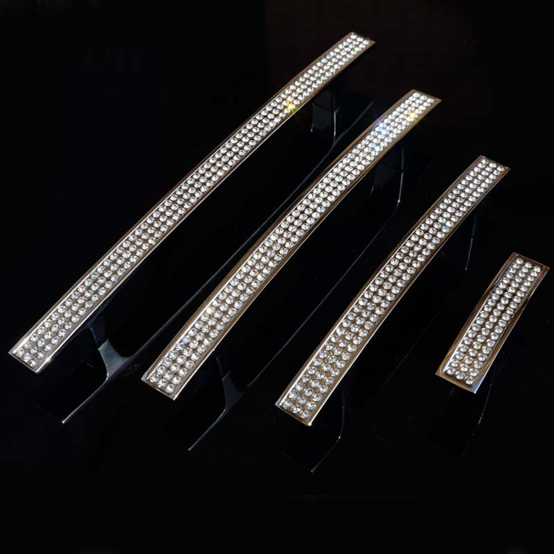 160mm fashion deluxe rhinestone wardrobe kitchen cabinet door handles silver glass crystal bookcase drawer knobs pulls 128mm 5