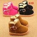 Invierno de Lana de Color Caqui Zapatos Niños Botas Chaussure Enfant Chicos Chicas Snowboots Calientes Botas Casuales Niños Al Aire Libre KD346