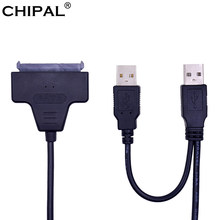 CHIPAL Standard USB 2.0 to SATA 3.0 7+15 22Pin Cable Adapter Converter for 2.5'' Hard Disk Drive HDD SSD with USB Power Supply(China)