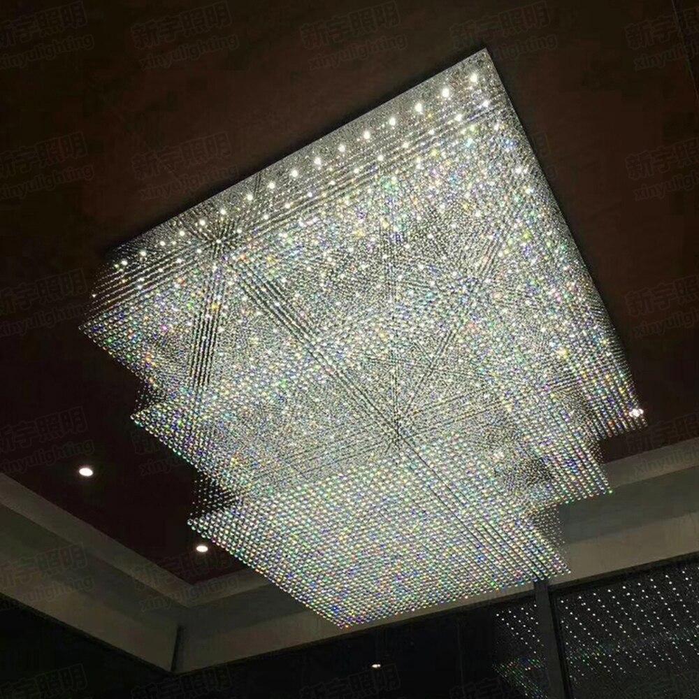 Design moderne grand lustre en cristal hôtel éclairage AC110V 220 v lustre cristal kronleuchter LED feux de foyer